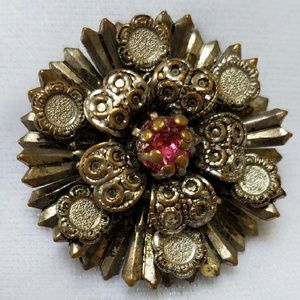 Vintage Stamped Pin/Pendant, Pink Stone